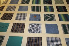 This listing is for a memory quilt made from mens cotton shirts. This listing is for a memory quilt made out of only cotton shirts, no knits, and sashing fabric in between each square. The quilt can also be personalized with your loved ones name. Please purchase the personalization listing that is in my shop. Please send me a conversation here on etsy to discuss this quilt and to find out where to ship your clothing.  Memory quilts are such a wonderful way to remember your loved one. It is a…