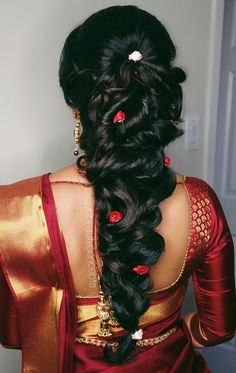 hair makeup: bridal makeup, bridal hair, indian bridal makeup, indian bridal hair, messy up do Indian Wedding Hairstyles, Bride Hairstyles, Trendy Hairstyles, Saree Hairstyles, Cut Hairstyles, Bridal Hairstyle For Reception, Bridal Hairdo, Engagement Hairstyles, Indian Bridal Makeup