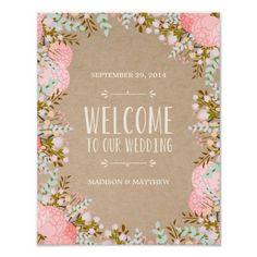 rustic flowers wedding reception sign