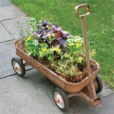 How to Make an Herb Planter From a Wagon