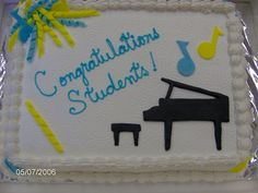 Piano Recital Sheet Cake - A simple sheet cake for a piano recital.  Iced in buttercream with fondant accents.