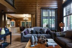 Just look at this wonderful log cottage in Moscow - ✌Pufikhomes - source of home inspiration Cabin Interiors, Dark Interiors, Country Interior, Home Interior Design, Living Room Colors, Home Living Room, Country House Design, Modern Rustic Homes, Timber House