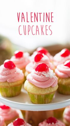 These cupcakes are the perfect Valentine's Day treat for your special someone. Tons of coconut flavour with a cherry kick. Cupcake Recipes, Baking Recipes, Dessert Recipes, Coconut Cupcakes, Mini Cupcakes, Halal Desserts, Valentine Day Cupcakes, Valentine Stuff, Valentine Treats