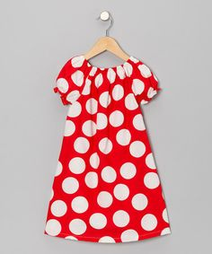 Take a look at this Red & White Polka Dot Dress - Toddler & Girls by Waistin Away on #zulily today!