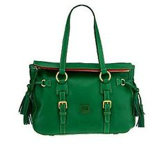 Get carried away with tassels and the #ColoroftheYear! Get more than fringe benefits with this fabulous @Dooney & Bourke #Emerald Florentine Leather Tassel Satchel.