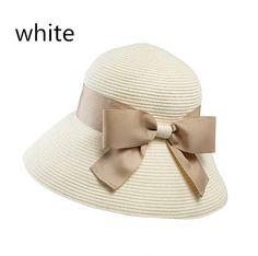 Sweet bow straw sun hat for women UV protection