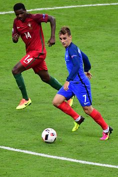 #EURO2016 Antoine Griezmann of France and William Carvalho of Portugal during the European Championship Final between Portugal and France at Stade de France on...
