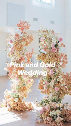 Pink And Gold Wedding, Floral Wedding, Wedding Bouquets, Wedding Flowers, Wedding Flower Backdrop, Engagement Decorations, Gold Wedding Decorations, Contemporary Wedding Decor, Wedding Ceremony Arch