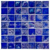 Iridescent Glass Mosaic Tile Cobalt 2x2