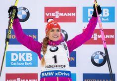 Gabriela Koukalova of Czech Republic celebrates on the podium after winning the women's km sprint event of the IBU Biathlon World Cup in Oberhof, eastern Germany, on January / AFP / ROBERT MICHAEL Bmw Xdrive, January 6, Czech Republic, World Cup, Germany, Sport, Celebrities, People, My Man
