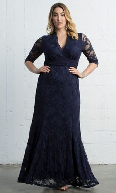 Here is the feminine and super sophisticated Screen Sirennavy blue lace maxi dress from Kiyonna! Gown is polyester blend, made in USA and dry cleaning is recommended for care. | eBay!