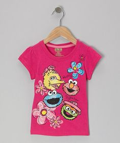 Take a look at this Dark Pink Sesame Street Flowers Tee - Toddler by Sesame Street on #zulily today!