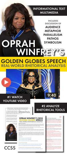 Use Oprah's Golden Globes speech as a high-interest lesson on rhetoric. Built for high school English classes.