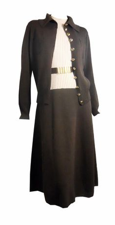 Chocolate Brown Sleeveless Dress and Cardigan circa 1970s St John Knit - Dorothea's Closet Vintage