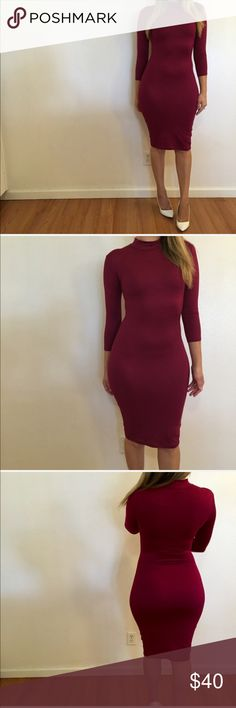 Burgundy 3/4 Sleeves High Neck Midi Dress 3/4 Sleeves Burgundy High Neck Midi Dress. Brand new. Never worn. No flaws. Available in S-M-L. 87% polyester, 13% spandex. Bundle for 15% off all 3+ item bundles. No Paypal. No trades. No offers will be considered unless you use the make me an offer feature.    👉 Please follow 📱 Instagram: BossyJoc3y Dresses Midi