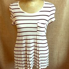 Cream and Black Striped Tunic Tee Tshirt style tunic. Cream and black with front pocket. Shark bite hemline. Good condition. Just slightly wrinkly. US Size 12. Fits like a Small/Medium. H&M Tops Tunics