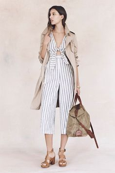 Madewell Spring 2016 - Parcel Trench Coat, Striped Jumpsuit, The Transport Weekender