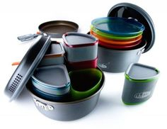 This great set from GSI is perfect for families! Everything nests together.. even the kitchen sink. No, seriously, the storage container that set fits into doubles as the sink. Fry pan, 2 and 3L pots, sink, cups, bowls, plates, strainers, it's all there. Best of all, at less than 4lbs, it only takes up a tiny 9.1 x 9.1 x 5.8 inches of space.. so packing it in the car or trailer is a breeze. Full set for 4 people. #camp #campcooking #recipes #camping