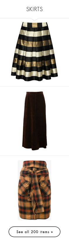 """SKIRTS"" by noconfessions ❤ liked on Polyvore featuring skirts, midi flare skirt, stripe midi skirt, metallic pleated skirt, flared pleated skirt, stripe skirts, saint laurent, brown, long leather skirt and high waisted maxi skirt"