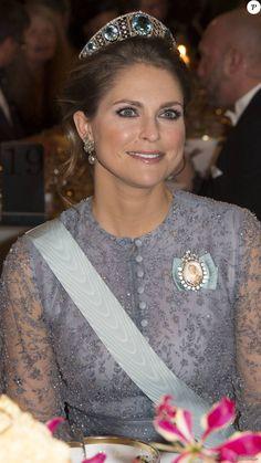 La princesse Madeleine de Suède - La famille royale de Suède au dîner de gala en l'honneur des Prix Nobel à Stockholm, le 10 décembre 2015.
