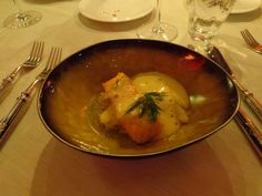 Scottish salmon with slowly cooked chicory, oranges and whiskey @ Restaurant Locanda @ Hotel Carlton