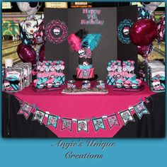 Monster high birthday bash  all decor created by Angie  https://www.etsy.com/shop/Angieuniquecreations