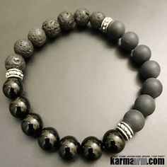 Bracelets I Beaded & Charm Yoga Mala I Meditation & Mantra I Spiritual. Black lava stone matte onyx. #LOA