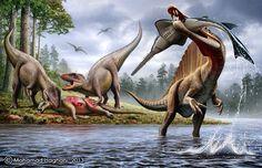 River Predators Ouranosaurus(?) and Spinosaurus