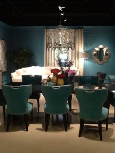 Velvety aqua chairs with brushed nickel touches. 2013 Fall High Point Furniture Market Trends by: Asia Evans Artistry for Manteo Furniture #HPMKT