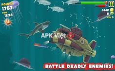 Hungry Shark Evolution v1.3.5 APK+DATA: game cá mập săn mồi cho android