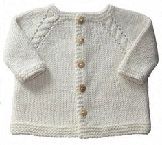 Baby Angel Baby Cardigan - - knitted - Gilet bébé Baby Ange – – tricot * This baby vest is knitted in one piece starting with the… Baby Boy Cardigan, Cardigan Bebe, Baby Pullover, Crochet Baby Boy Hat, Crochet Cardigan Pattern, Girls Sweaters, Baby Sweaters, Baby Knitting Patterns, Pull Bebe