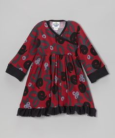 Take a look at this Crimson Brush Rose Surplice Dress - Infant, Toddler & Girls by Corky's Kids on #zulily today!