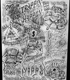 Chicano Tattoos Lettering, Chicano Tattoos Sleeve, Tattoo Lettering Styles, Arm Sleeve Tattoos, Tattoo Sleeve Designs, Chicano Style Tattoo, Tattoo Design Drawings, Tattoo Sketches, Gangster Tattoos