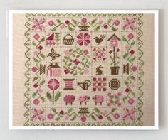 French cross stitch patterns : Patchwork Printemps Jardin Prive Spring garden Nathalie Cichon counted hand embroidery