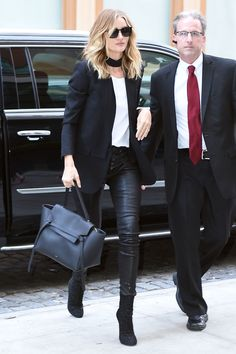 30 April Rosie Huntington-Whiteley looked chic in a black blazer, leather trousers and a skinny scarf as she made her way around New York. - HarpersBAZAAR.co.uk