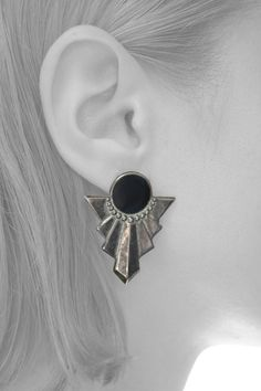 80s VINTAGE Art Deco Black and Silver Earrings VTG Costume jewelry on Etsy, $6.92 AUD