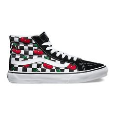 Vans SK8-Hi Slim ($60) ❤ liked on Polyvore featuring shoes, sneakers, lacing sneakers, vans trainers, high top trainers, lace up high top sneakers and high top shoes