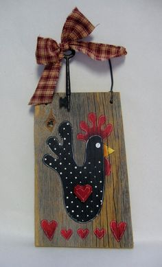 Rustic Barn Wood Black Chicken with Hearts by barbsheartstrokes