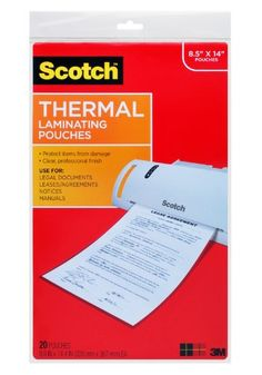 #manythings #Scotch Thermal Laminator Pouches protect documents you handle frequently. Pouches are clear to let important information show through. Legal size.
