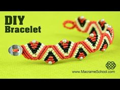 Macrame ZigZag Wave & Triangle Bracelet Tutorial - YouTube