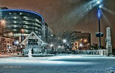 """Snowy Night in Dayton"" by R. Feld. Downtown in Focus 2011 Photo Contest winner. #BestinShow - Professional"