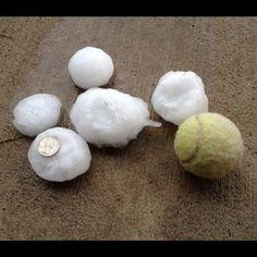 Hail from Dallas tornados.