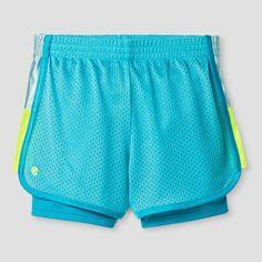 Girls' 2-in-1 Mesh Short Turquoise XS - C9 Champion, Girl's