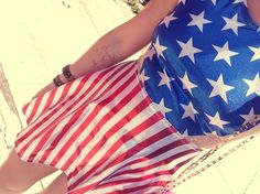 Metallic+American+flag+print+circle+skirt+dress!  Show+your+patriotism+or+just+look+cool+in+this+fun+dress.+  Perfect+for+music+festivals,+bbqs,+or+just+some+summer+fun.  Handmade+and+designed+by+me+