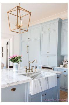 Blue Kitchen Designs, Blue Kitchen Decor, Modern Kitchen Design, Kitchen Interior, Kitchen Ideas, Kitchen Country, Gold Kitchen, Primitive Kitchen, Home Interior