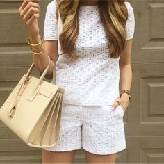 Eyelet top + bottoms Short Outfits, Chic Outfits, Summer Outfits, Fashion Outfits, Womens Fashion, Fashion Trends, Look Fashion, Fashion Design, Chor