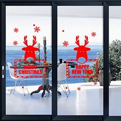 Merry Christmas Peel and Stick Wall WindowCar Mural Decal Props FavorDecoration Ornaments Gift Supplies M55 Red Double Deers235 X 294 ** Details can be found by clicking on the image.  This link participates in Amazon Service LLC Associates Program, a program designed to let participant earn advertising fees by advertising and linking to Amazon.com.