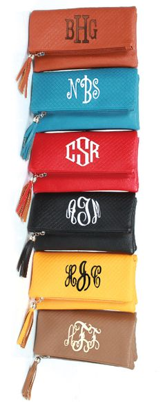 NEW Monogrammed Tassel Cross Body Clutch - Available in SIX amazing colors! From Marleylilly.com