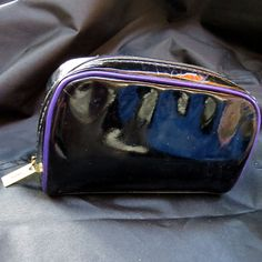 YSL Yves St Laurent Beaute Cosmetic Makeup Bag Black Patent Leather Purple Trim #YvesSaintLaurent