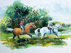 Free Rein ORIGINAL watercolor, horse, ride, gallop